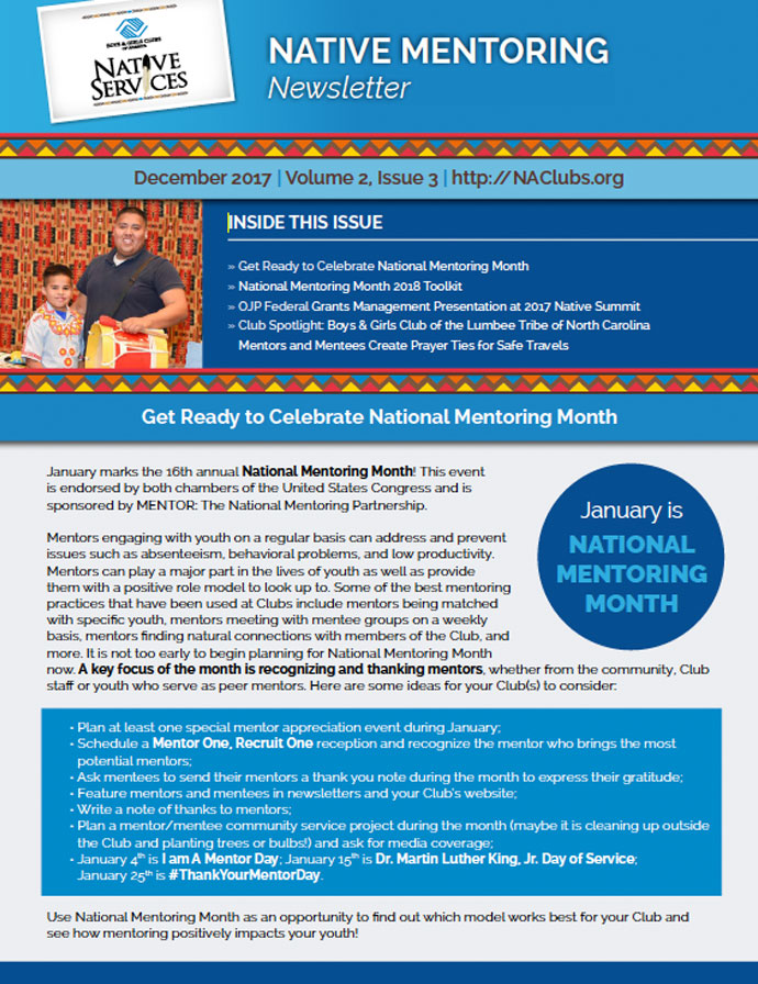 Native Mentoring Newsletter